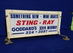 Vintage Original 1960's Sting Ray Boat Advertising Sign Double Sided Outboard