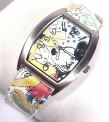 Disney Parks Pluto And Mickey Watch Authentic Original Silver Case Leather Band