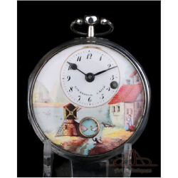 Antique Girardier L'aine Verge Fusee Automaton Pocket Watch. Silver. C. 1815