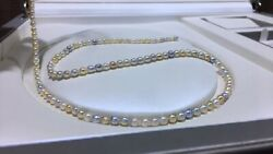 Aurora Multi-color 5mm Japanese Akoya Saltwater Baby Pearl Necklace Japan Order