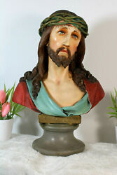 Antique French Chalkware Ecce Homo Christ Bust Statue Religious