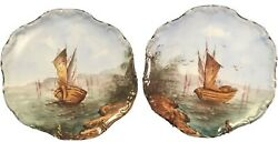 """Antique French Handpainted """"flambeau"""" Limoges Wall Plaques 2 C.1890-1914"""