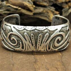 Vintage Navajo Sterling Silver Overlay Cuff Bracelet By The Ahasteen Brothers