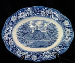 Staffordshire Liberty Blue 12 Oval Serving Plattergovernor's Housewilliamsbur