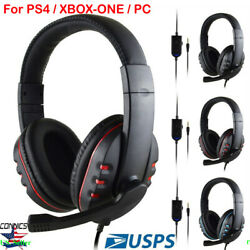 Gaming Headset Stereo Surround Headphone 3.5mm Wired For Pc/ps3/ps4/xbox New Us