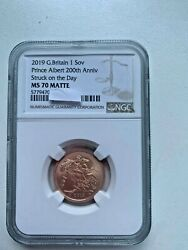 2019 Queen Victoria Gold Sovereign Struck On The Day Ngc Ms70 Matte