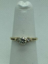 Vintage 14k Solid Yellow Gold Natural Diamond .45 Carats Engagement Ring Si-h