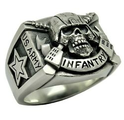 Infantry Sterling Silver 925 Special Forces Us Army Military Menandrsquos Skull Ring