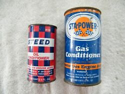 Vintage Steed And Sta Power Gas And Oil Conditioner Tin Can Full Gas And Oil Cans