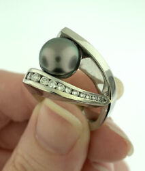 Vintage South Sea Pearl And 0.50ctw Diamond Statement Ring 14k White Gold Size 6