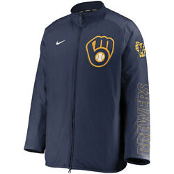 New 2021 Mlb Milwaukee Brewers Nike Authentic Collection Dugout Full-zip Jacket