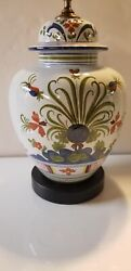 """Hand-painted Floral Italian Porcelain Lamp Made In Italy For Paul Hanson H 29"""""""