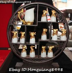 19chinese White Jade Gold Gilt 12 Zodiac Year Dragon Loong Cup Cups Statue Set