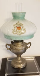 """Antique Miller Kerose Lamp W/ Green And White Floral Stained Glass Shade H 21"""""""