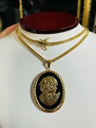 K18 Japan Gold Solid Mens Womenandrsquos 8 Cut Cameo Agate Necklace 24andrdquo Long 3mm 21.05g