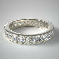1.50 Ct Diamond Solid 14k White Gold Engagement Eternity Band Size 4 5.5 6 7 8 9