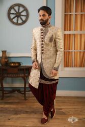 Mens Ethnic Wear Embroidered Groom Wedding Wear Indo Western Dress From India