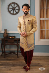 Mens Hand Embroidered Wedding Ethnic Wear Groom Indo Western Dress From India