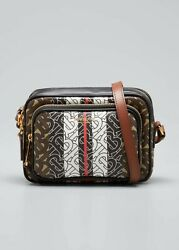 Burberry Small Handbag Black Brown Bridle Camera Zip Auth Leather Bag Italy NEW $960.00