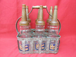 Antique Power Lube Motor Oil Glass Bottles W/spouts And Metal Crate Set Of 6