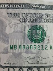 Rare 2013 B First Quad 8andrsquos 5 Five Dollar Bill Lucky 8 Mb 88889212 A Nice M29