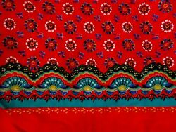 SCALLOPED FAN FLOWERS ON RED COTTON BORDER FABRIC 48quot; x 42quot;