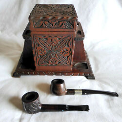 """Antique Handmade Engraved Wood """"tallent"""" Humidor Tobacco Box + 2 Pipes/england"""