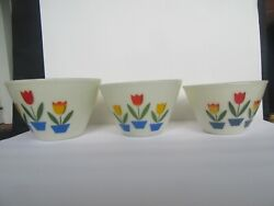 Vintage 1950's 3 Large Fire King Oven Ware Tulip Mixing Bowl Set
