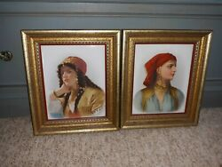 Antique Portrait Painting On Porcelain Gypsy Or Arab Woman