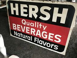 Extremely Rare Hersh Beverages Large Antique Tin Sign Schenectady Ny 1960's