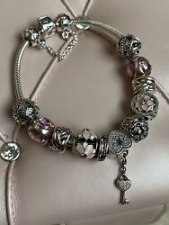 Authentic Pandora Pink Crystal Floral Heart Charm And Silver Bracelet