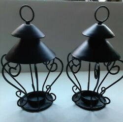 Set Of 2 Hanging Tea Light Holders Lanterns About 8 Inches Tall Black Metal Deco