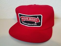 Vintage Hugh M Woods Building Materials Hat Patch Snapback K Products Red