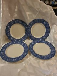 4 Queens China England Albertine Dinner Plates Blue And White - Discontinued