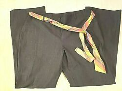 Nwt Doncaster Womens Gray Stretch Dress Pants Removable Tie Belt Size 18