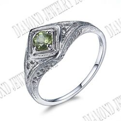 Sterling Silver 925 Band Vintage Ring Jewelry Sets 4mm Round Cut Genuine Peridot