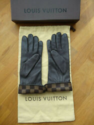 Louis Vuitton Damier Ebene Leather Gloves, Brown, Size 7.5, Nos In Box, Dust Bag