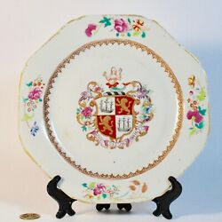 Antique Chinese Export Porcelain Armorial Plate, Qing 18th C Qianlong, Rare