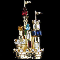 Coro Large Gold And Muticolour Jewels Smaller Fantasy Castle With Turrets Pin