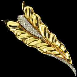 Trifari Philippe Gold And Pave Jack In The Pulpit / Serpent's Tongue Leaf Pin Clip