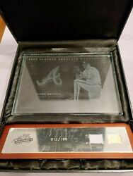2003 Playoff Absolute GREG MADDUX GAME WORN JERSEY amp; BAT ETCHED GLASS 12 100
