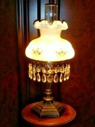 Rare Old Fenton Milk Glass Shade Gold Fixture Student Lamp With Cut Crystals