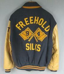 Vintage 90s Freehold H.s. Silks Wool Varsity Jacket Marching Band Color Guard Nj