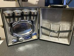 Collins Brothers Vinyl 3-bottle Travel Bar/liquor Case With Serving Tray
