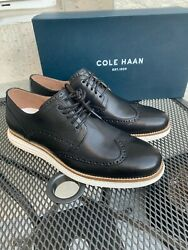 New Cole Haan Menand039s Original Grand Shortwing Black / White Oxfords C26469 Pk Sz