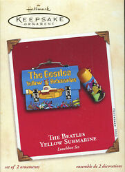 2002 Hallmark Ornament The Beatles Yellow Submarine Lunchbox And Thermos