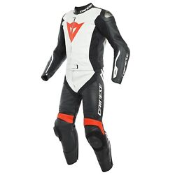 Dainese Avro D-air 2tlg. Leather Suit Gr.52 Black White Red Size 52