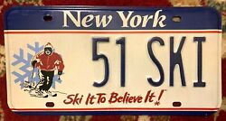 New York Skier Skiing Snow Specialty License Plate Rare And Discontinued 1990and039s Ny