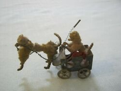 Antique, Old Toy, Wool Poodle Pulling Poodle Dog With Whip In Tin Cart