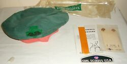 Vintage 1960's Girl Scout Cloth Hat Beret Removeable Gs W/patch Ribbon Pins +
